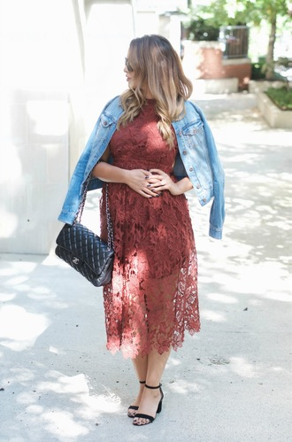 gumboot glam blogger dress jacket shoes bag sunglasses make-up lace dress denim jacket black bag chanel see through burgundy burgundy dress sandals black sandals