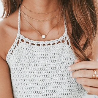 tank top crotchet summer top crop jewels jewelry necklace choker necklace layered gold gold jewelry gold necklace gold choker