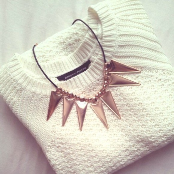 white sweater jewels gold jewelry