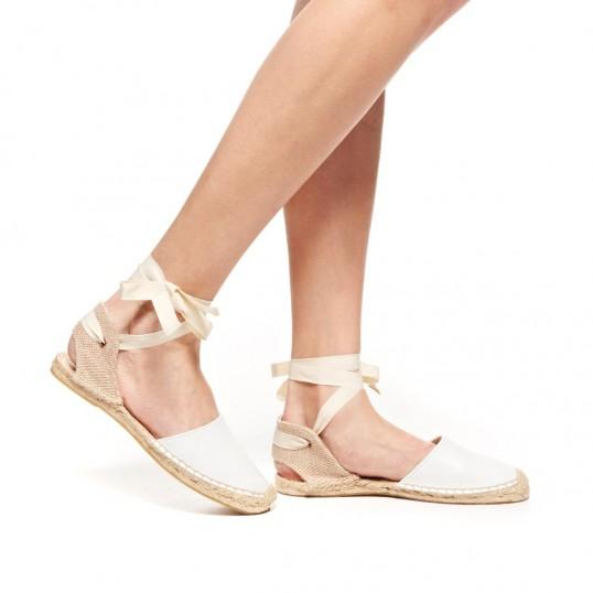 Sandal - Leather White Espadrilles for