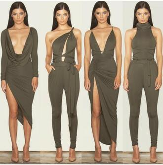 top dress i want the dress with the slit t kylie jenner style dress coal/khark    coloured dress the dress in the middle ! jumpsuit two-piece olive green fashion romper overalls khaki green green romper olive romper olive dress green dress nude heels heels nude sleek sleeves cute sexy sexy dress tight bodycon dress racy gorgeous dress gorgeous strings hot hot dress hot romper sleeveless skin tight plunge neckline cute outfits turtleneck turtleneck dress bodysuit neutral khaki green strappy polo neck olive green dress olive green heels plunge dress cross over dress army green  jumpsuit