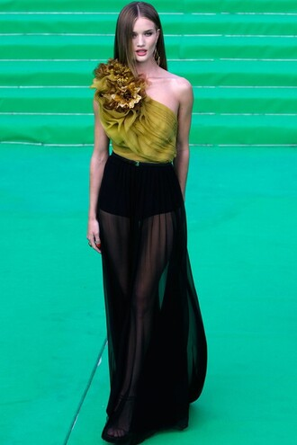 skirt maxi maxi skirt sheer dress black dress maxi dress gucci mustard top one shoulder cannes rosie huntington-whiteley