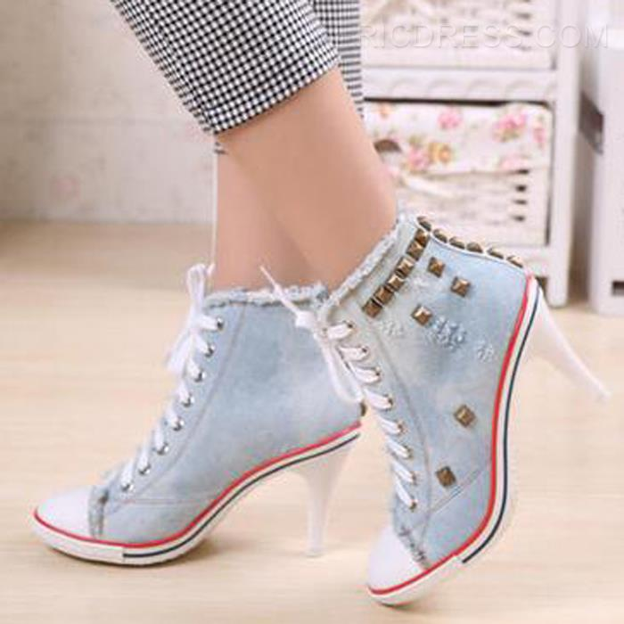 $ 37.83 Ericdress Rivets Decoration Lace up Canvas High Heel Boots