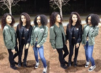 jacket triple threat olive and black bomber jackets bomb asf the perfect exchange atl movement atl shawtys curly heads $50 or less $$$$ chiraq on the far right tho show love and support this