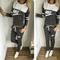 Fashion hooded letters printed two-piece pants