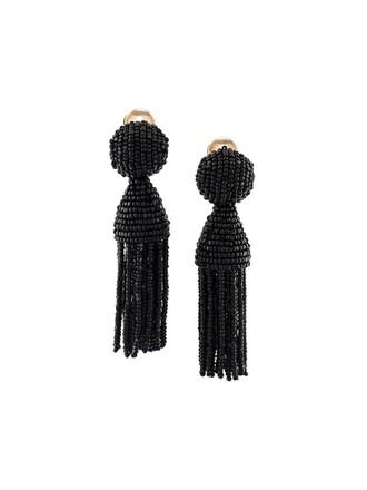 short tassel earrings black jewels