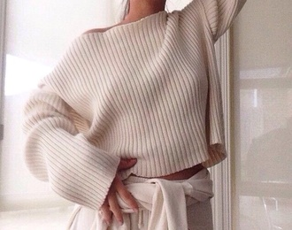sweater beige cool casual classy style top shirt casual chic t-shirt