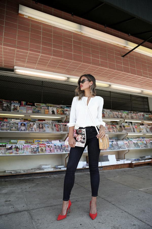 blouse tumblr white blouse bag denim jeans skinny jeans blue jeans pumps suede pumps red heels shoes