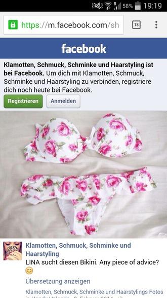 swimwear bikini pink swimwear white swimwear pink flowers bandeau bandeau top rose