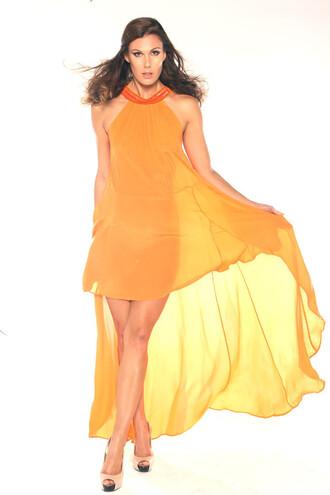 dress safron orange resort wear luxury parides bikiniluxe