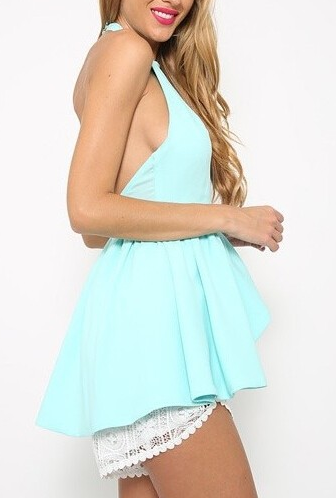 Mint Color Halter Blouse  - Juicy Wardrobe