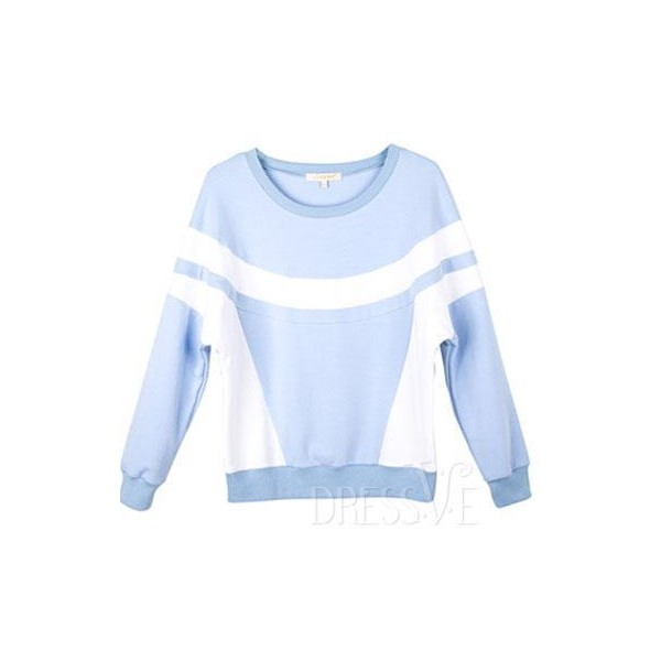 Contrast Color Batwing Sleeve Round-Neck Hoody