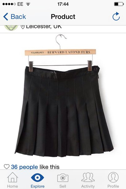 skirt black pleated tennis