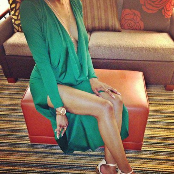 low cut plunge slit dress green long green maxi dress low front