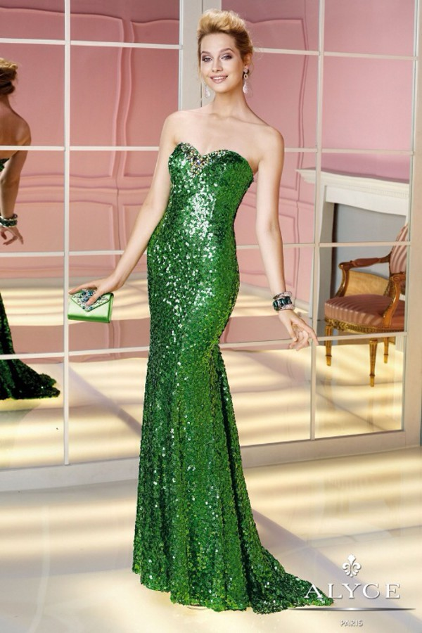 dress sequins green gown evening dress