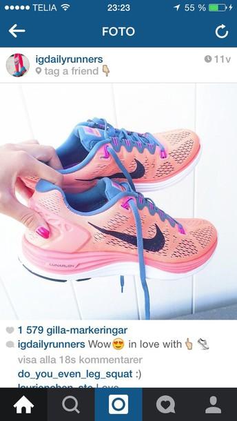 shoes pink nike running blue