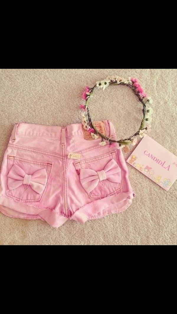 shorts pink c.r.e.a.m so awesome cute flowers jewels