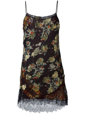 dress floral dress metallic women lace floral black silk