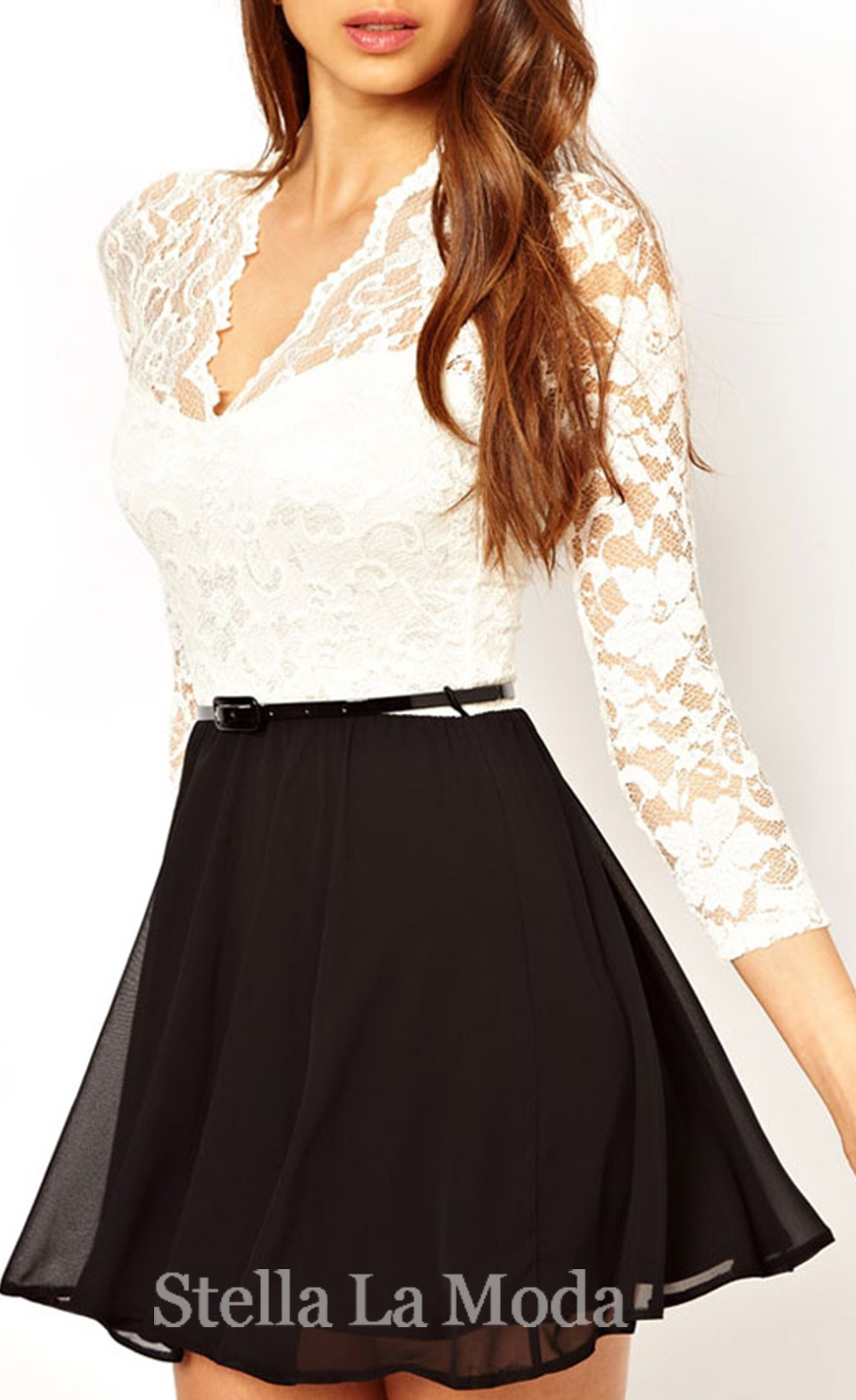 Charming belted skater dress in lace