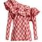Mangas coloradas one-shoulder tartan cotton top
