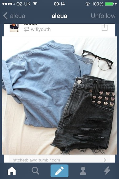 shorts black cute tumblr stud studded levis cool t-shirt sunglasses