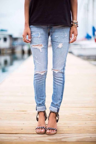 jeans ripped stone washed pants boyfriend jeans distressed jeans light jeans ripped jeans studded sandals shoes