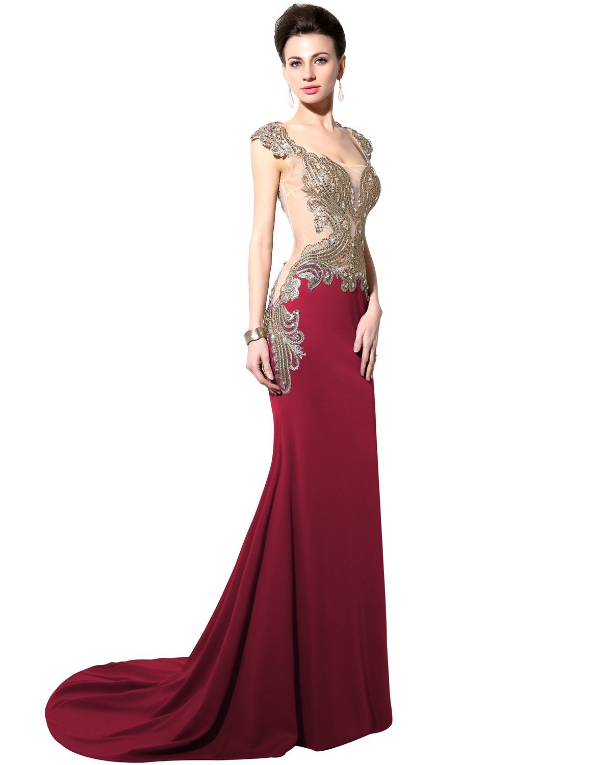 Clearbridal Women\'s Long Mermaid Embroidery Formal Evening Gown ...
