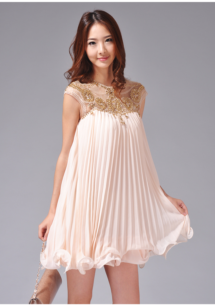 Free shipping Summer chest 2013 cutout handmade beading luxury chiffon one piece dress female skirt 9034-inDresses from Apparel & Accessories on Aliexpress.com