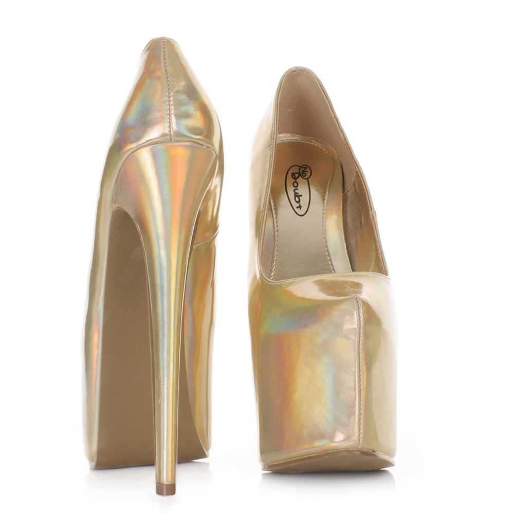 Womens Ladies Hologram Metallic Extra High Heel Platform Court Shoes Size 3 8 | eBay