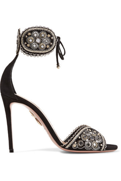 Aquazzura embellished sandals suede black shoes