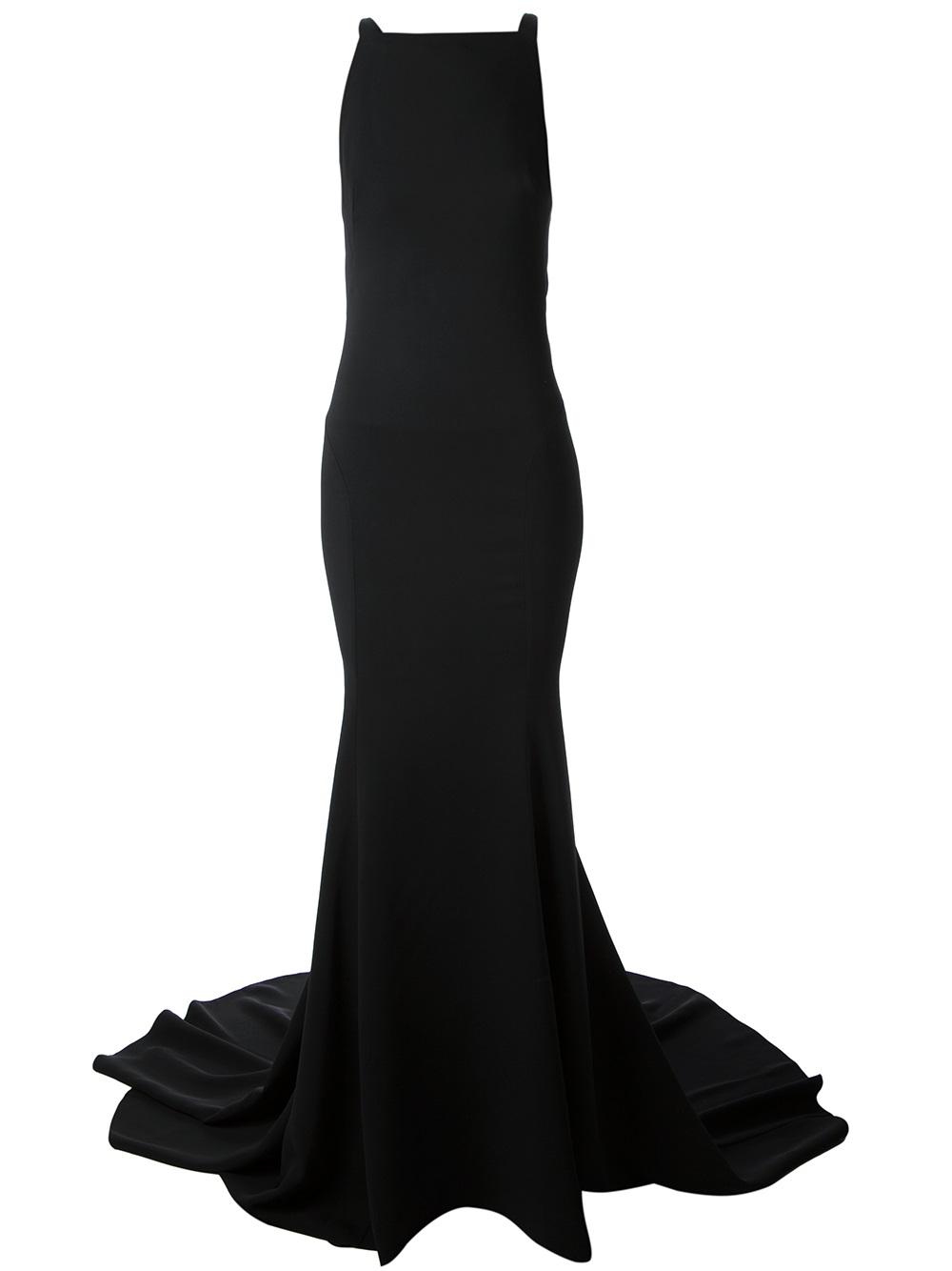 Roberto cavalli black snake strap back gown
