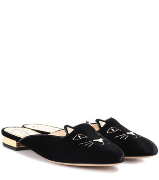 charlotte olympia slippers velvet black shoes
