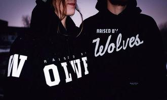 sweater jacket black cute girly wolves nike