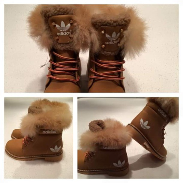 Shoes: winter boots, winter sports, adidas, boots, brown adidas ...