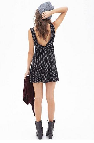 dress dot drerss v back drerss v back polka dots skater dress