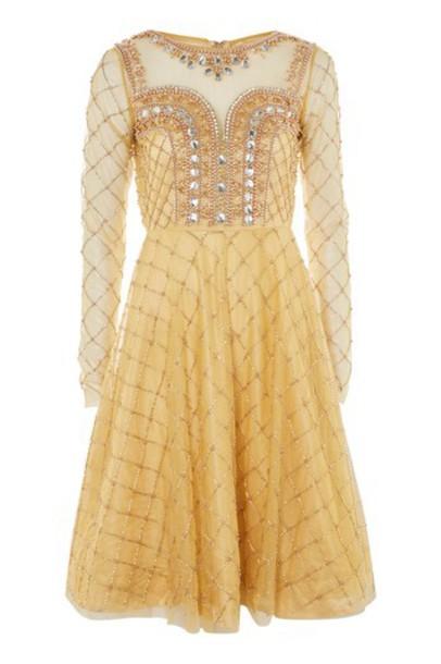 Topshop dress skater dress embellished skater gold