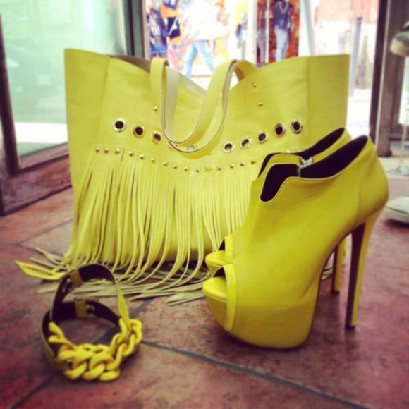 colorful bag shoes heels yellow shoes yellow bag fashion bags fashion shoes stylish stylish eve pink bracelets spring trends chanel michael kors bag purses