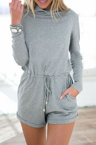 romper grey sweater grey fashion fall outfits fall sweater fall romper back to school casual long sleeves dope swag zaful