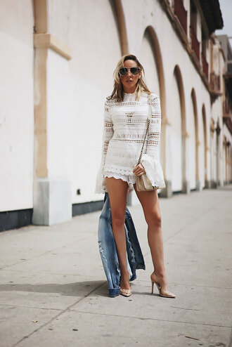 shorts tumblr white shorts top white top bell sleeves long sleeves matching set crochet crochet top crochet shorts sandals sandal heels high heel sandals bag white bag jacket denim denim jacket
