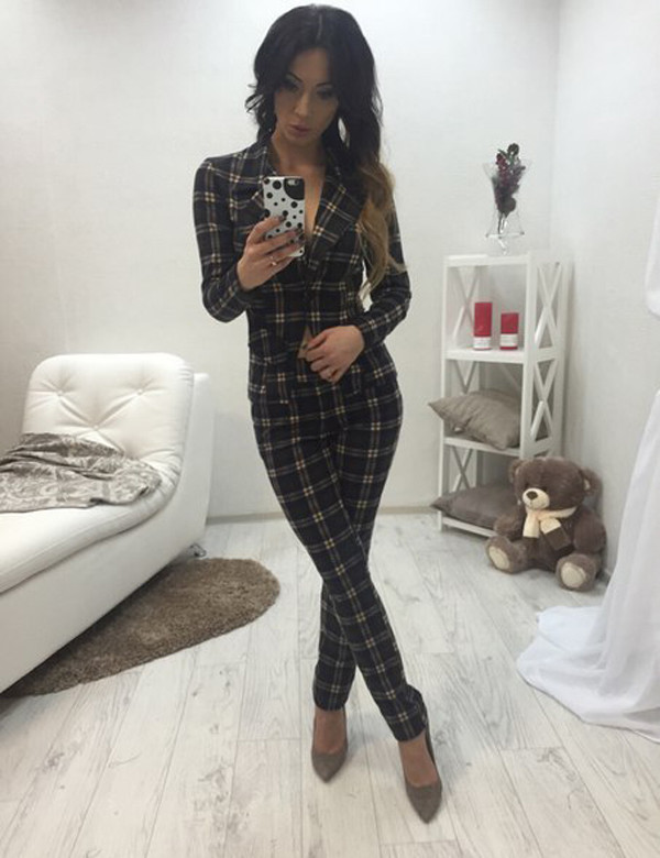 Women&39s Smart Casual Checkered Trendy Blazer Straight-Leg Pants Set