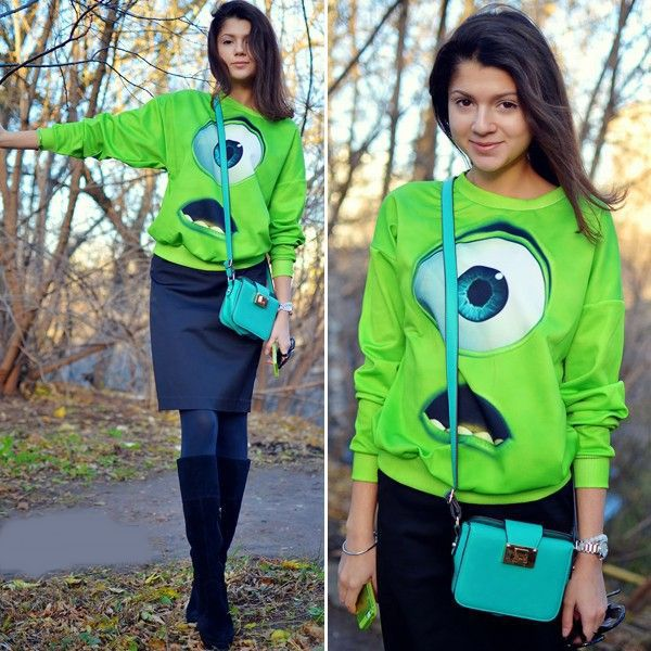 New Spring 2014 Women Clothing Funny Big Eyes Green Monster Galaxy 3D Print Hoodie Sweatshirt Sportswear Sweaters Tracksuit Tops-in Hoodies & Sweatshirts from Apparel & Accessories on Aliexpress.com