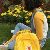 bag,yellow,fjallraven kanken