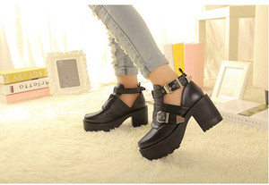 Punk Gladiator Chunky Heel Platform Cut Out Buckle Strap Martin