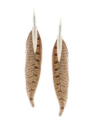 long earrings feather earrings brown jewels