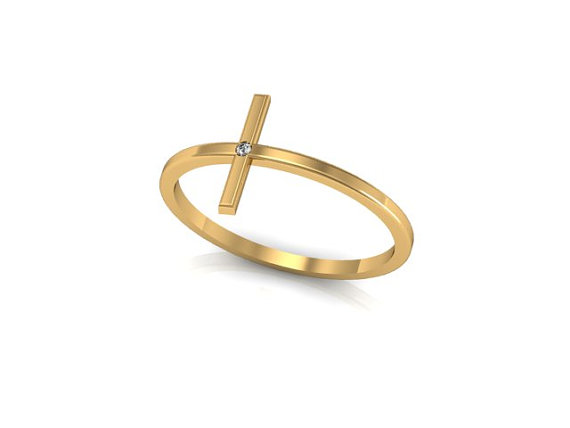 Tiny 14K Yellow Gold Sideways Cross ring with by ChicJoaillerie