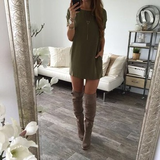 dress t-shirt dress shoes boots gray boots knee high boots suede boots olive green dress taupe boots green fall outfits