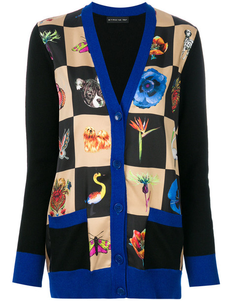 ETRO cardigan knitted cardigan cardigan women print black silk wool sweater