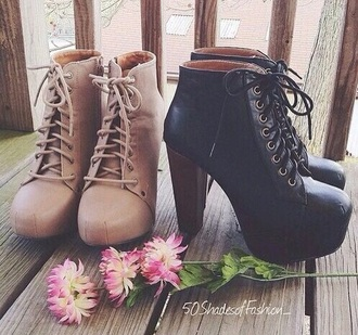 shoes black army boots thick heel lace up camel tan ankle boots high heels boots