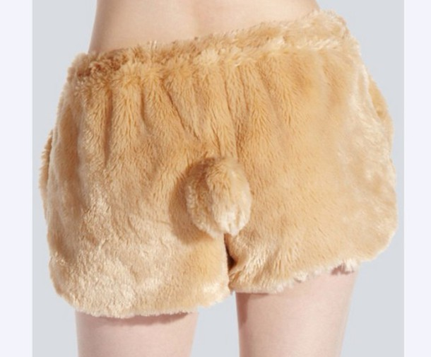 shorts fluffy brown bunny bunny fluffy kawaii drop dead clothing drop dead clothing
