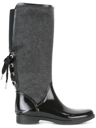 women boots black wool shoes